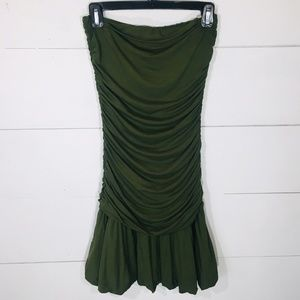 BCBGMAXAZXRIA BCBG Strapless Olive Ruched Dress S